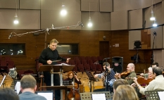 The working moment of the NRCU Orchestra while recording. Soloist Anna Nuzha (cello)