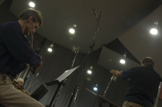 In NRCU Big Concert Recording Studio, the working moment of the  while recording