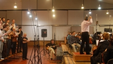 In NRCU Big Concert Recording Studio while recording