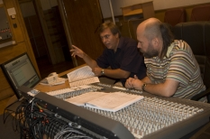 In NRCU Big Concert Recording Studio studio-nall instrument room, with sound engineer M. Didkovkiy
