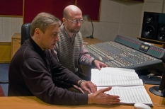 In NRCU Big Concert Recording Studio studio-nall instrument room, with sound engineer Andriy Mokrytskiy